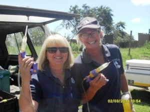 Val and Vanessa armed with the new injection gun